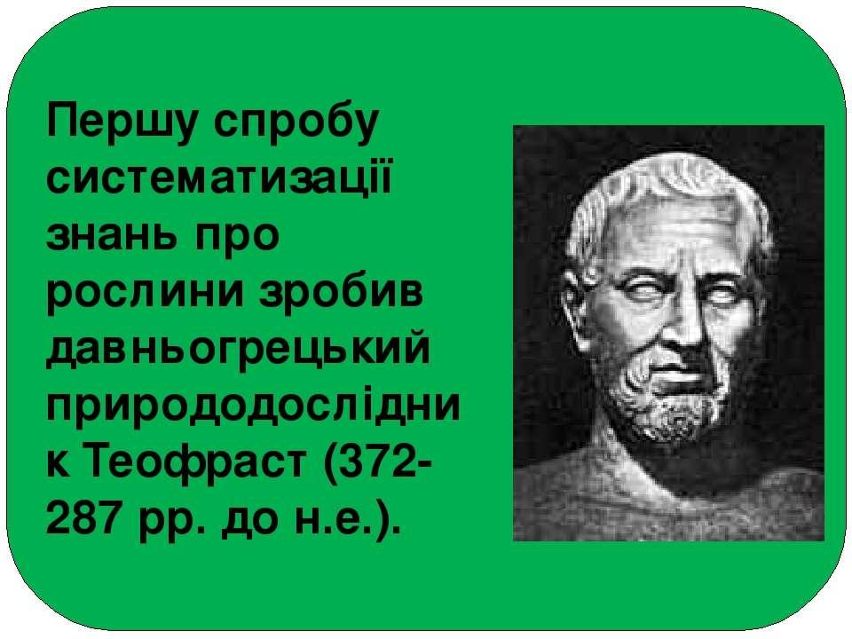 Першу спробу систематизації знань про рослини зробив давньогрецький природодо...