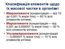 Класифікація елементів щодо їх масової частки в організмі Макроелементи(конц...