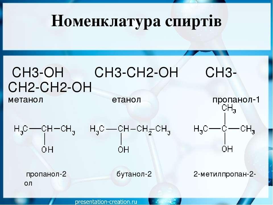 Номенклатура спиртів СН3-ОН СН3-СН2-ОН СН3-СН2-СН2-ОН метанол  ета...