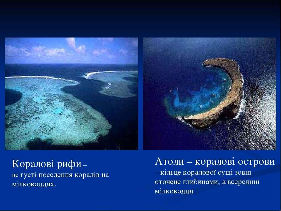 Коралові рифи – це густі поселення коралів на мілководдях. Атоли – коралові о...