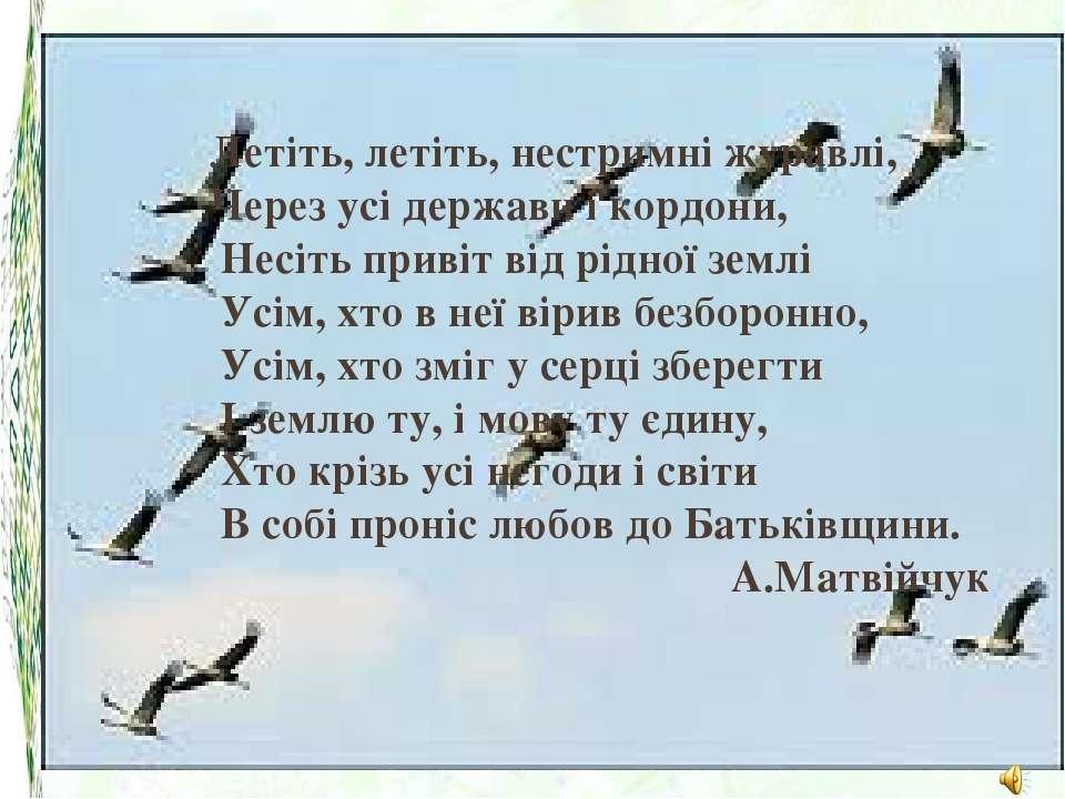 Летіть, летіть, нестримні журавлі, Через усі держави і кордони, Несіть приві...
