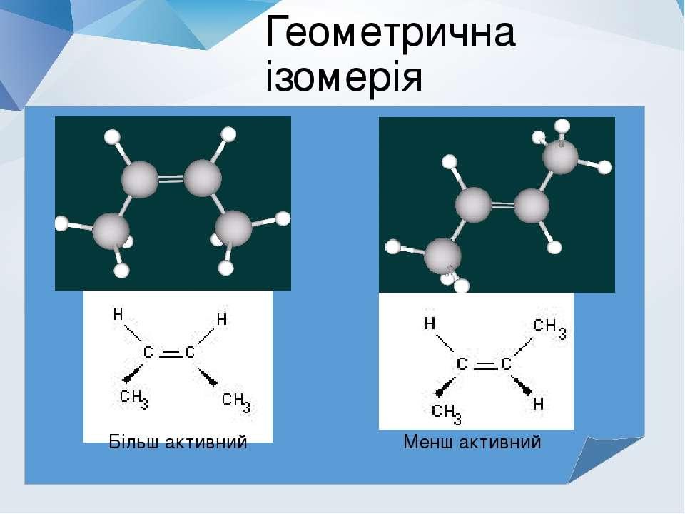 Геометрична ізомерія Більш активний Менш активний