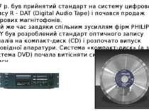 1987 р. був прийнятий стандарт на систему цифрового запису R - DAT (Digital A...