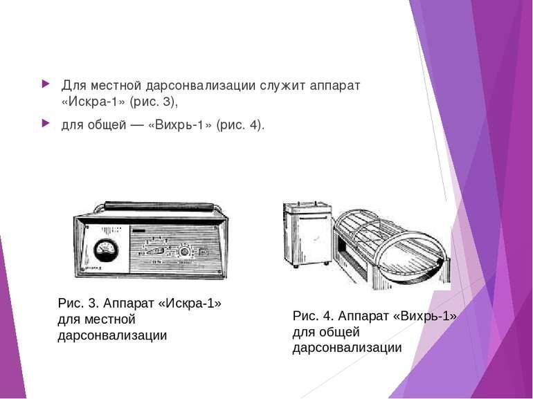 Для местной дарсонвализации служит аппарат «Искра-1» (рис. 3), для общей — «В...