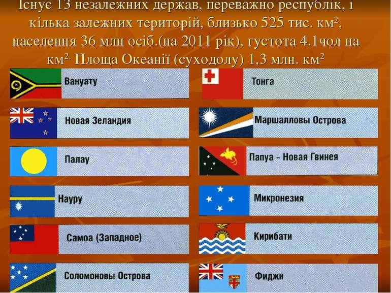 Існує 13 незалежних держав, переважно республік, і кілька залежних територій,...
