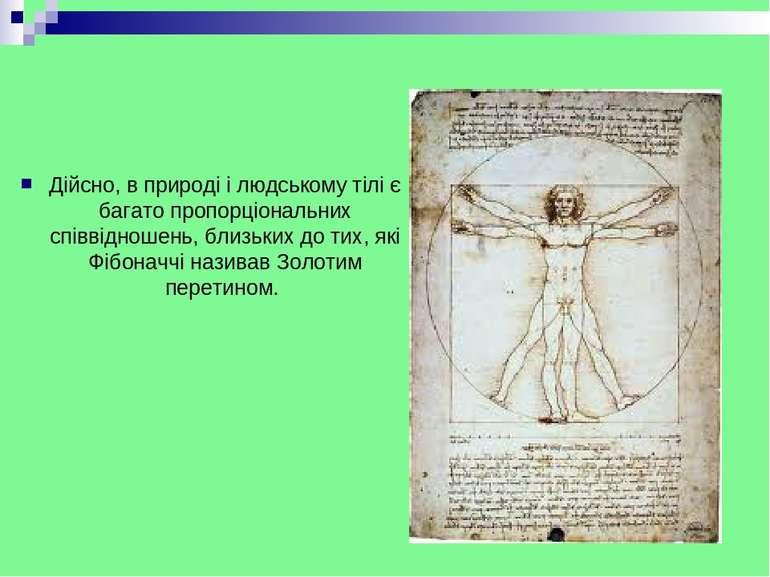 Дійсно, в природі і людському тілі є багато пропорціональних співвідношень, б...
