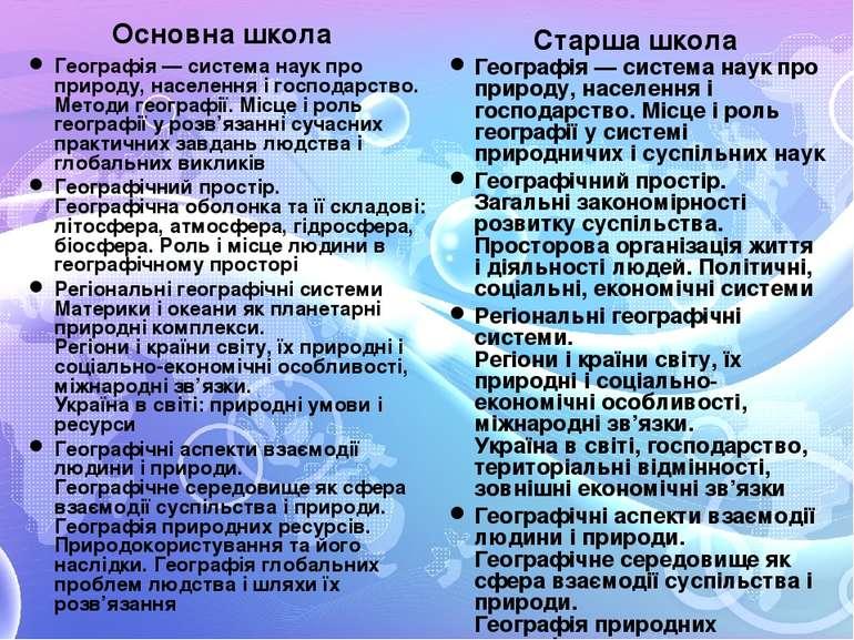 Основна школа Географія — система наук про природу, населення і господарство....