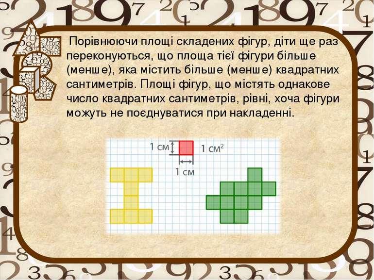 Порівнюючи площі складених фігур, діти ще раз переконуються, що площа тієї фі...