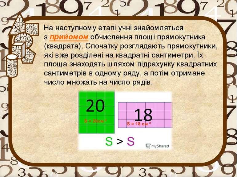 На наступному етапі учні знайомляться зприйомомобчислення площі прямокутник...