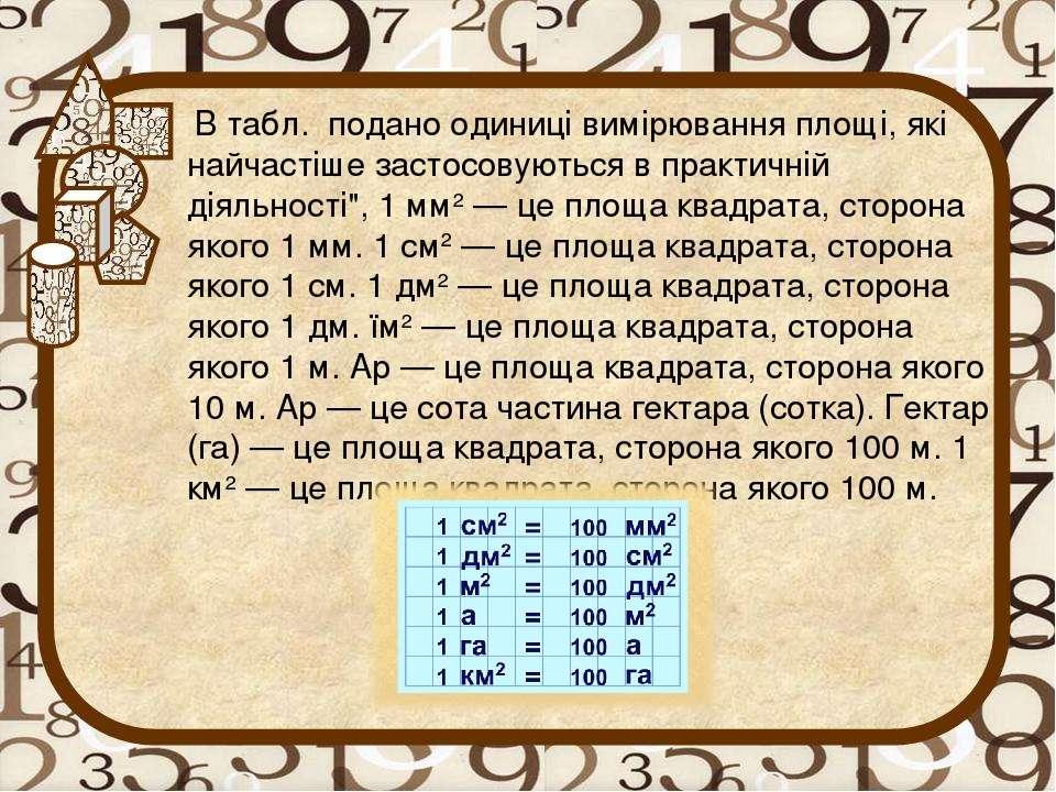 В табл. подано одиниці вимірювання площі, які найчастіше застосовуються в пра...