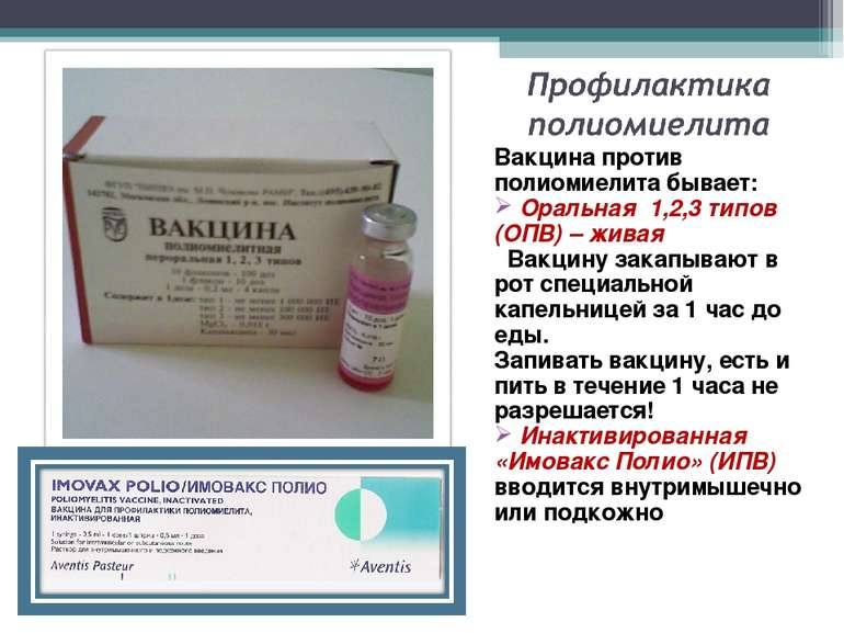 Вакцина против полиомиелита бывает: Оральная 1,2,3 типов (ОПВ) – живая Вакцин...