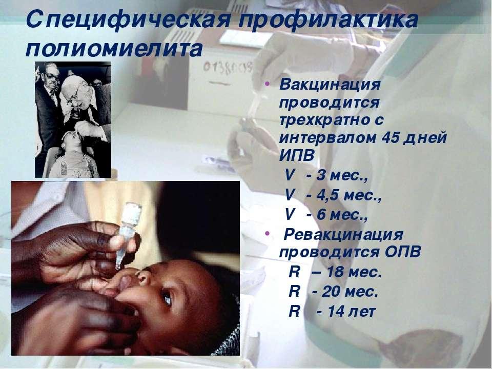 Вакцинация проводится трехкратно с интервалом 45 дней ИПВ V₁ - 3 мес., V₂ - 4...