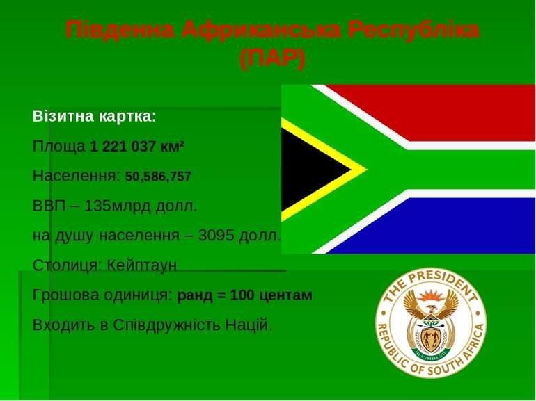 Південна Африканська Республіка (ПАР) Візитна картка: Площа 1221037км² На...