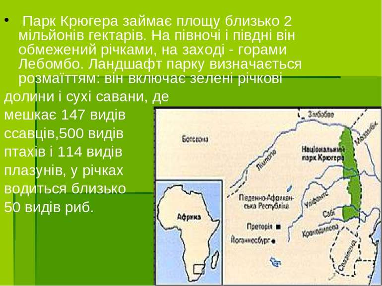 Парк Крюгера займає площу близько 2 мільйонів гектарів. На півночі і півдні ...