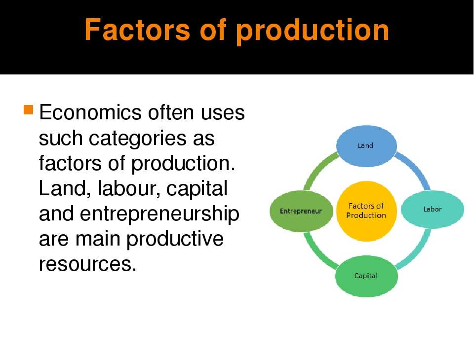 Factors of production Economics often uses such categories as factors of prod...