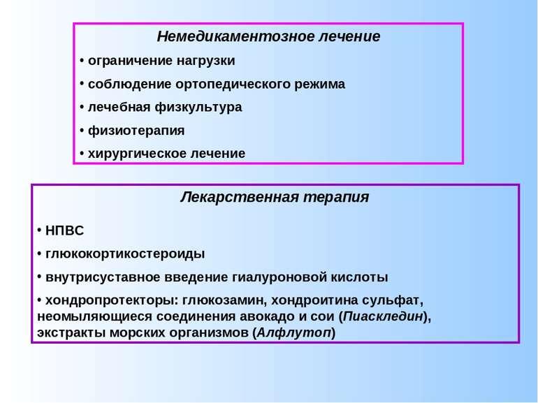 Немедикаментозное лечение ограничение нагрузки соблюдение ортопедического реж...