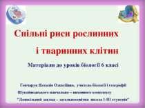 Спільні риси рослинних і тваринних клітин Гончарук Наталія Олексіївна, учител...