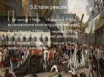 3.Етапи революції I. 14 липня 1789р. - 10 серпня 1792р. – встановлення консти...