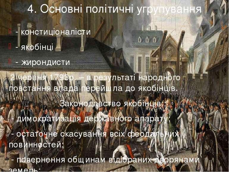 4. Основні політичні угрупування - констиціоналісти - якобінці - жирондисти 2...