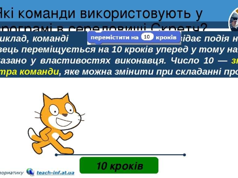 Які команди використовують у програмі в середовищі Скретч? Розділ 4 § 24 10 к...