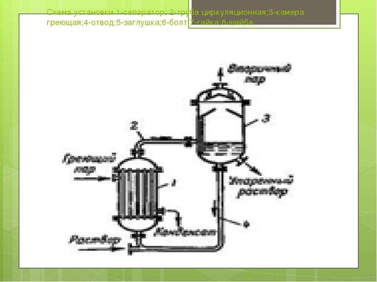 Схема установки 1-сепаратор; 2-труба циркуляционная;3-камера греющая;4-отвод;...