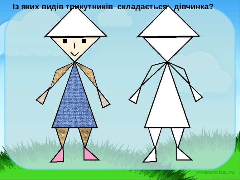 Із яких видів трикутників складається дівчинка?