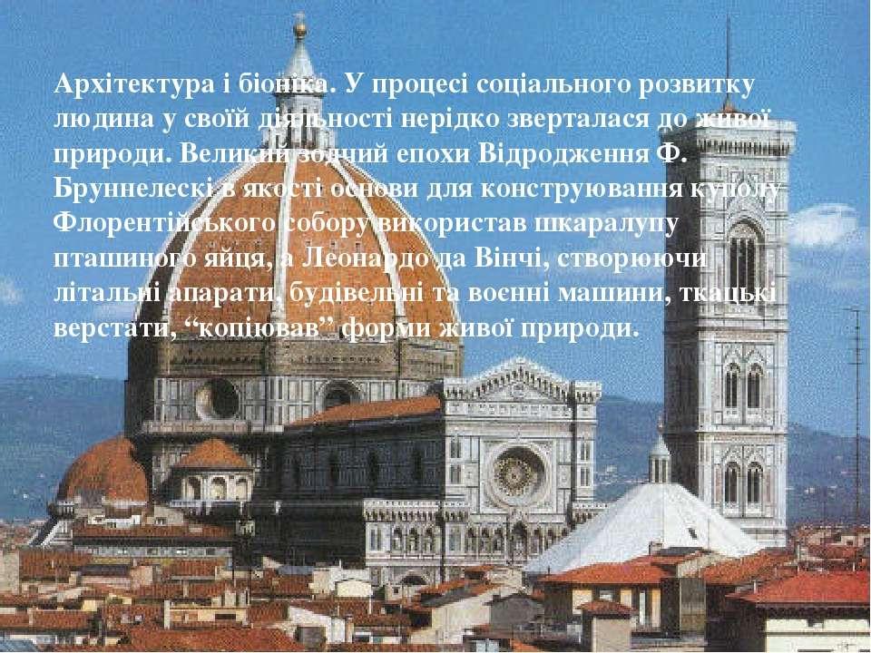 Архітектура і біоніка. У процесі соціального розвитку людина у своїй діяльнос...