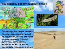 Переміщуючи хмари, змінює погоду; переносить гірські породи (пил, пісок), ств...