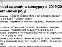 Ключові дедлайни конкурсу в 2019/2020 навчальному році До 1 листопада - Подач...