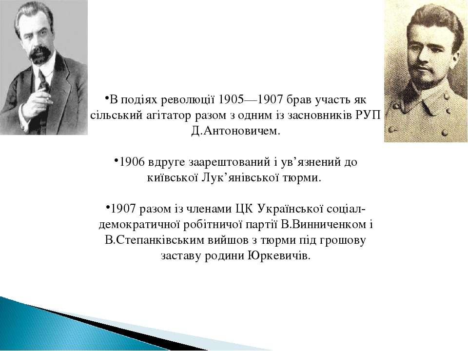В подіях революції 1905—1907 брав участь як сільський агітатор разом з одним ...