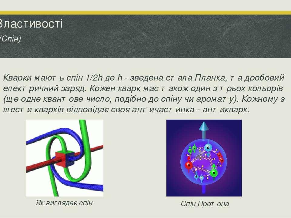 Властивості (Спін) Кварки мають спін 1/2ħ де ħ - зведена стала Планка, та дро...