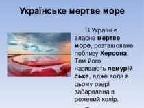 Українське мертве море В Україні є власнемертве море, розташоване поблизуХе...