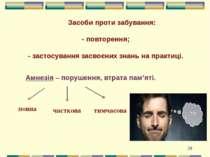 Засоби проти забування: - повторення; - застосування засвоєних знань на практ...