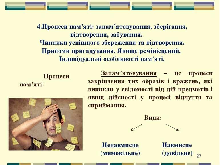 * 4.Процеси пам'яті: запам'ятовування, зберігання, відтворення, забування. Чи...