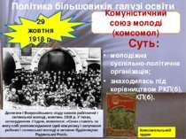 Суть: молодіжна суспільно-політична організація; знаходилась під керівництвом...