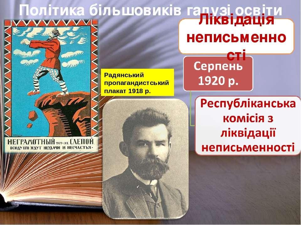 Політика більшовиків галузі освіти Ліквідація неписьменності Радянський пропа...