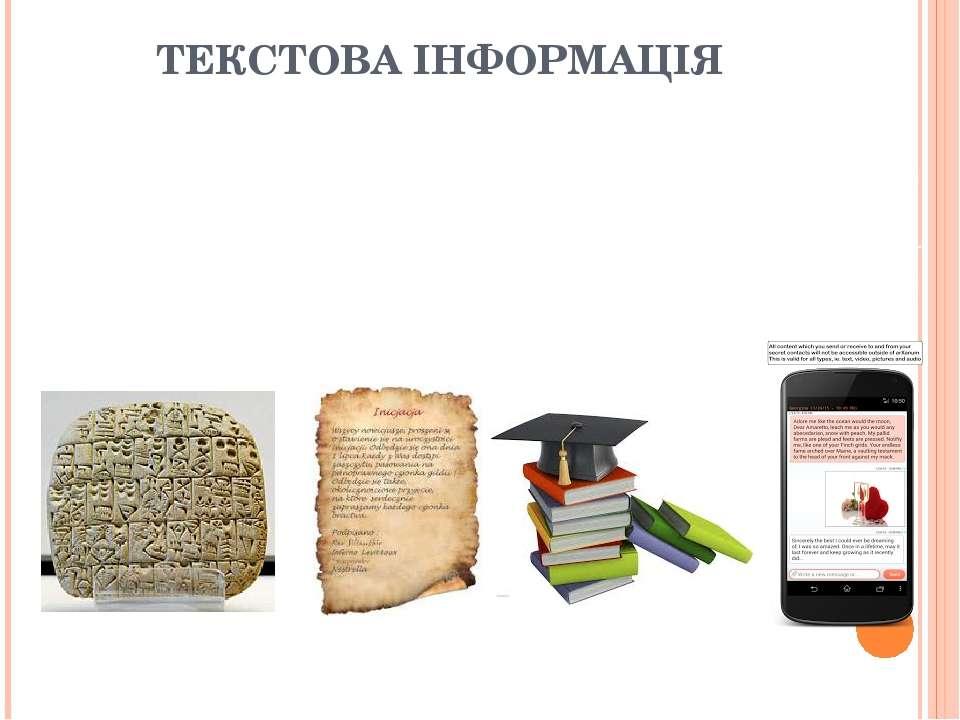 ТЕКСТОВА ІНФОРМАЦІЯ Текстові повідомлення могли зберігатися протягом тривалог...