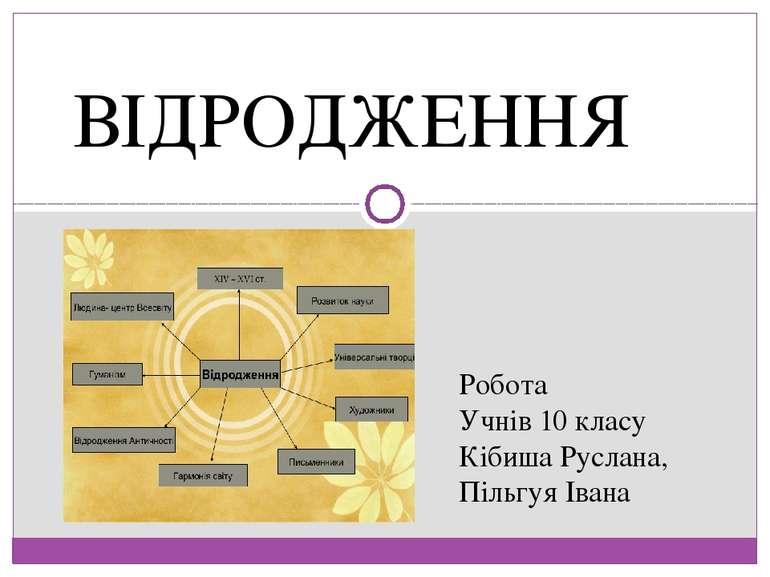 ВІДРОДЖЕННЯ Робота Учнів 10 класу Кібиша Руслана, Пільгуя Івана