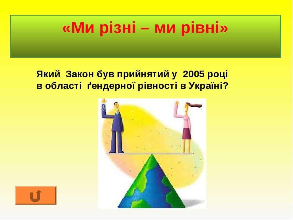 «Ми різні – ми рівні» Який Закон був прийнятий у 2005 році в області ґендерно...