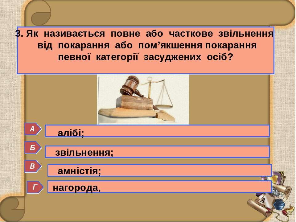 Б 3. Як називається повне або часткове звільнення від покарання або пом'якшен...