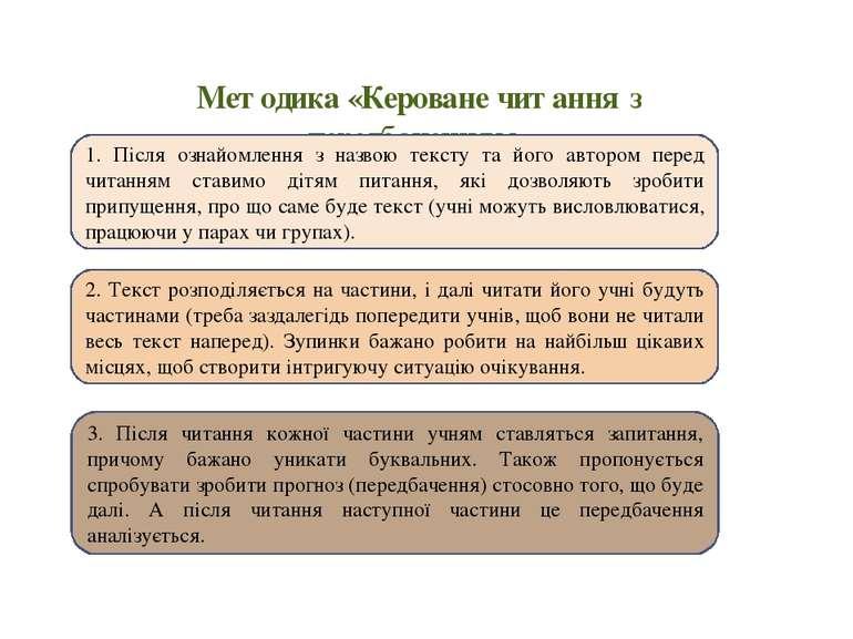 Методика «Кероване читання з передбаченням» 1. Після ознайомлення з назвою те...