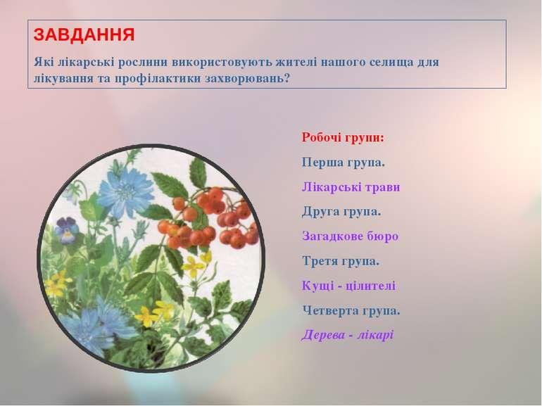 1,2,3,4,5,6,7,8,9,10,11,12,13,14,15,16,17,18 * ЗАВДАННЯ Які лікарські рослини...