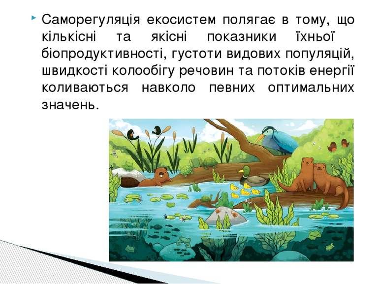 Саморегуляція екосистем полягає в тому, що кількісні та якісні показники їхнь...
