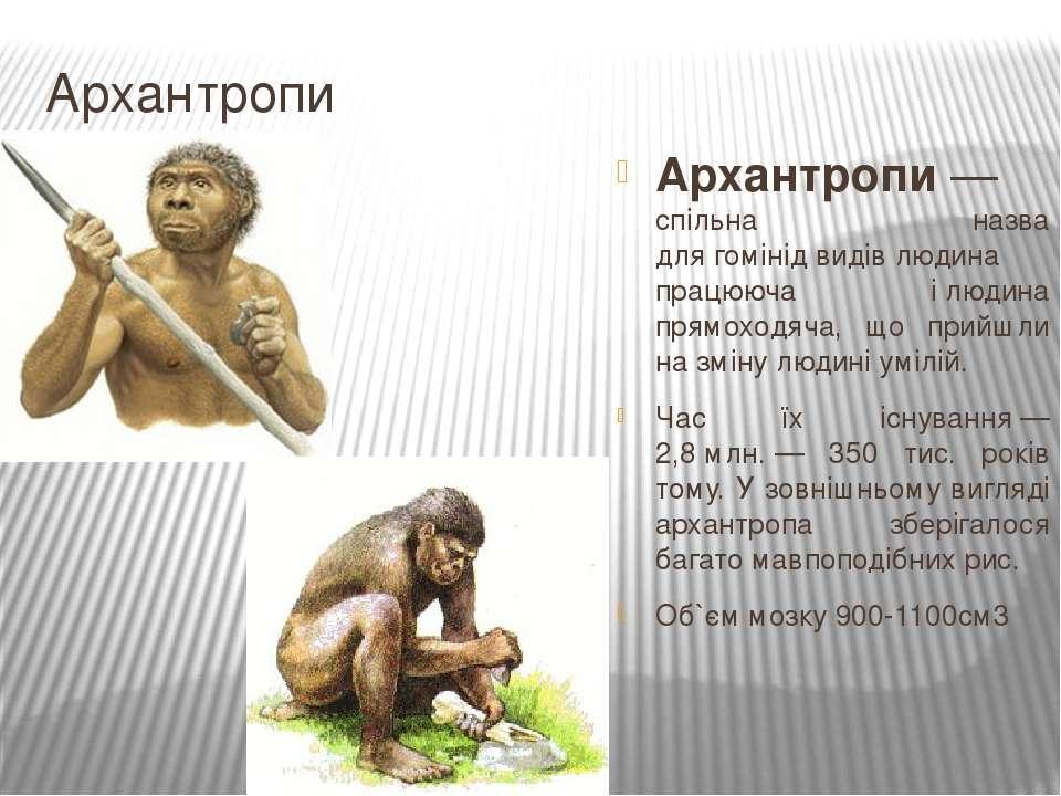 Архантропи Архантропи— спільна назва длягомінідвидівлюдина працююча ілюд...