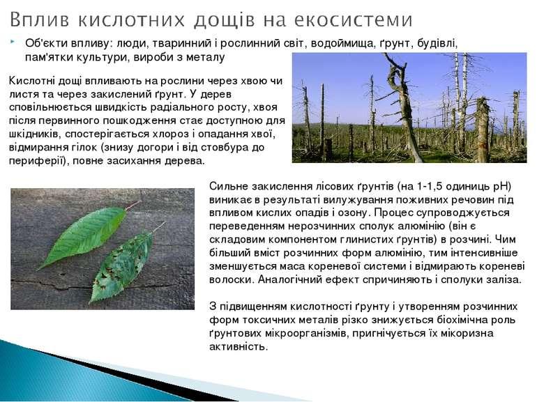 Об'єкти впливу: люди, тваринний і рослинний світ, водоймища, ґрунт, будівлі, ...