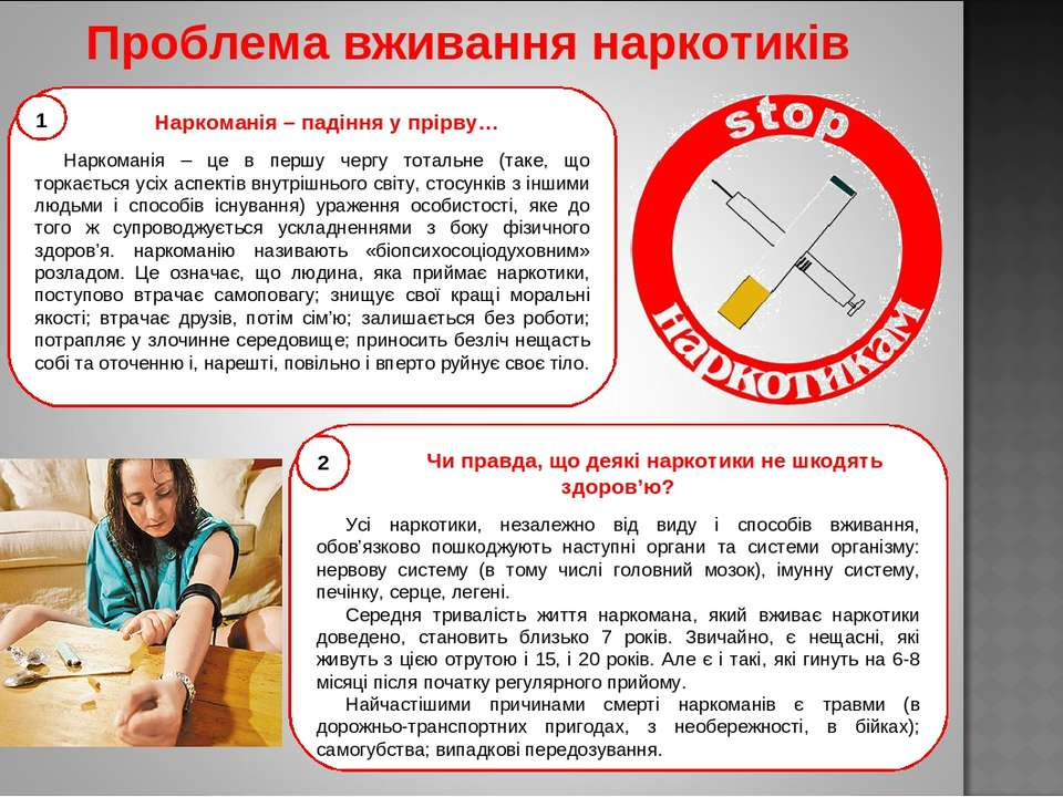 Проблема вживання наркотиків Чи правда, що деякі наркотики не шкодять здоров'...