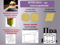 Правильна призма вона пряма основа її правильний многокутник. ПРИЗМА – це м...