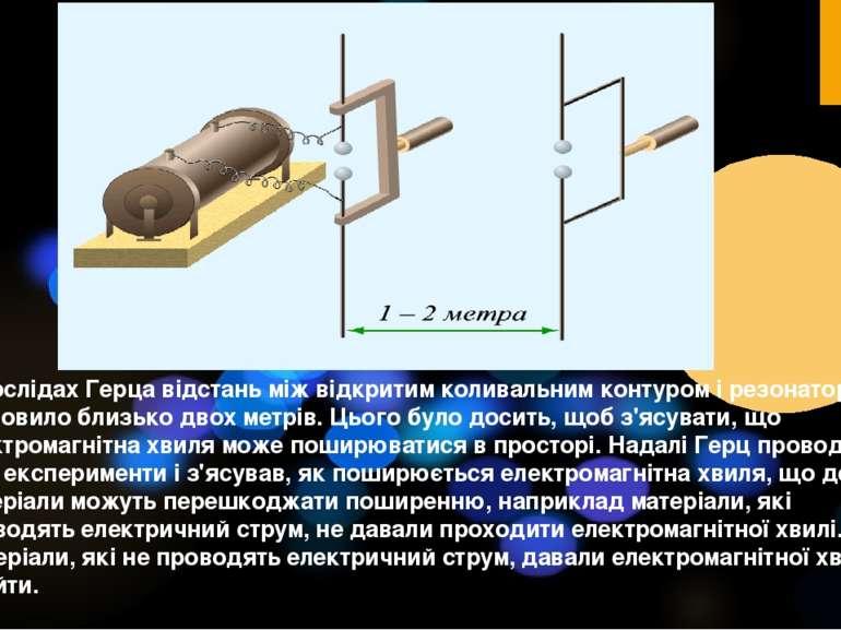 У дослідах Герца відстань між відкритим коливальним контуром і резонатором ст...