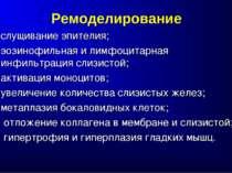 Ремоделирование слущивание эпителия; эозинофильная и лимфоцитарная инфильтрац...
