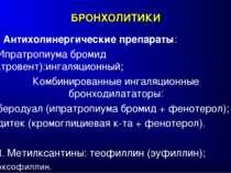 БРОНХОЛИТИКИ II. Антихолинергические препараты: Ипратропиума бромид (атровент...